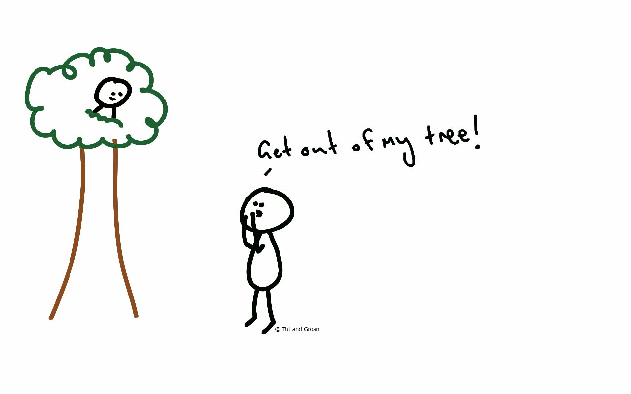Tut and Groan Get Out of My Tree cartoon