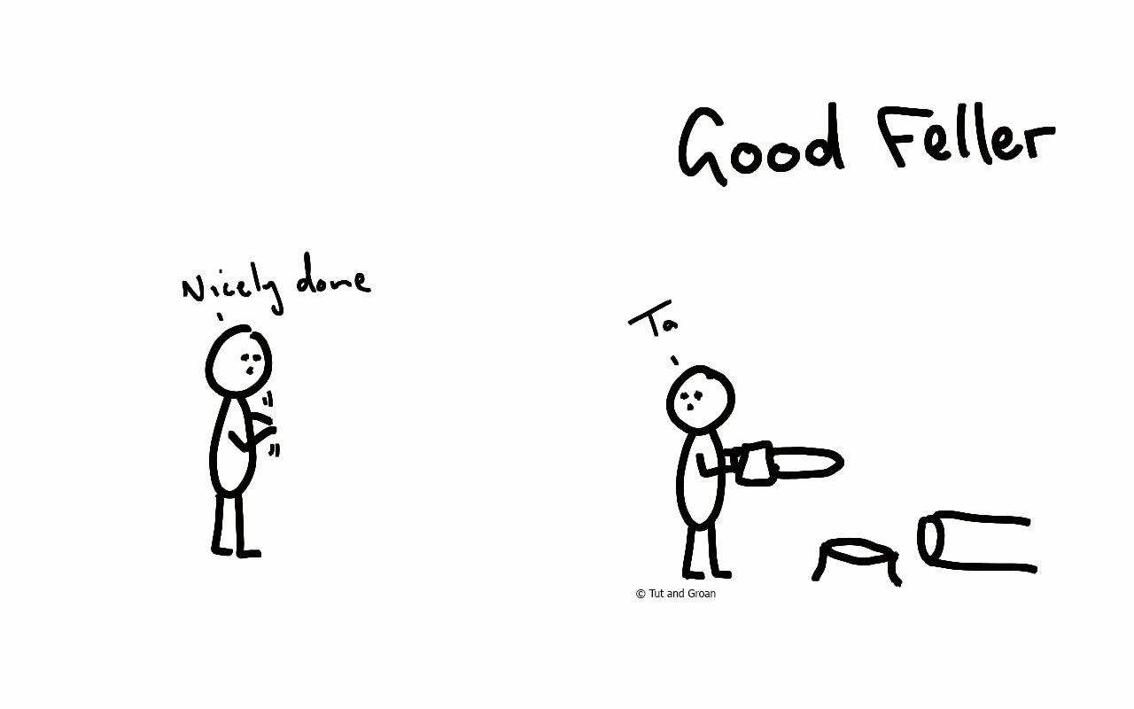 Tut and Groan Good Feller cartoon