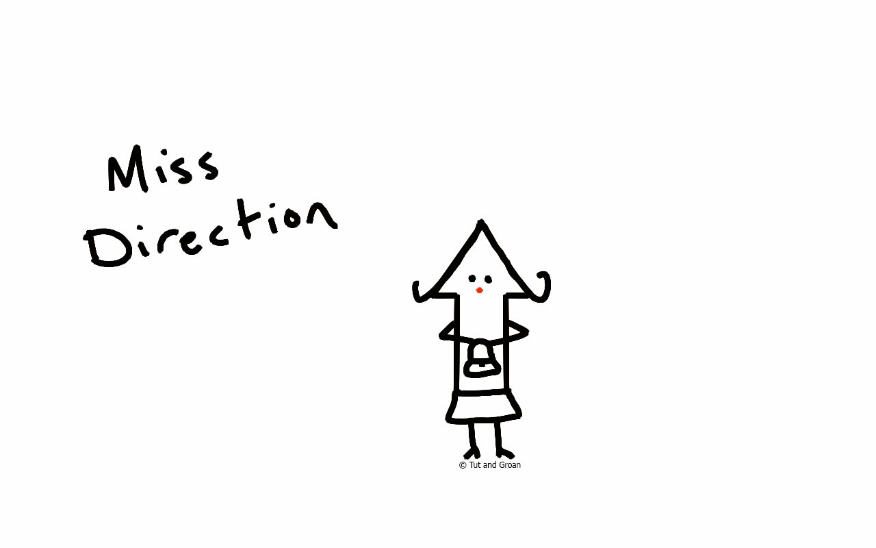 Tut and Groan Miss Direction cartoon