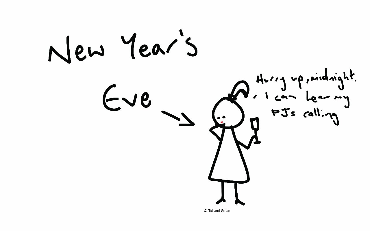 Tut and Groan New Year's Eve cartoon