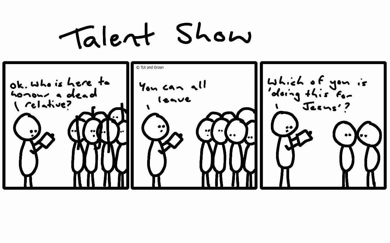 Tut and Groan Three Panels: Talent Show cartoon