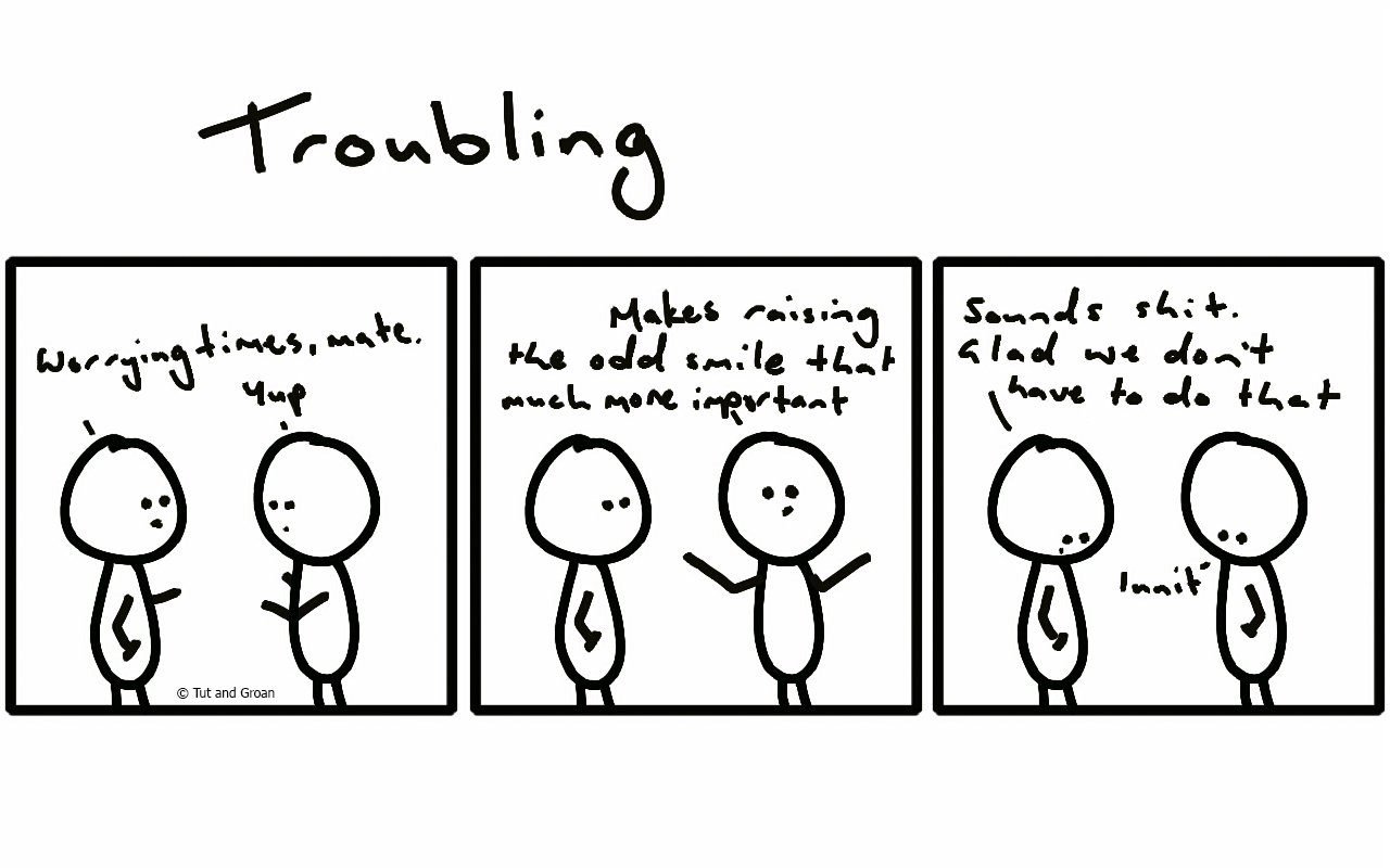 Tut and Groan Three Panels: Troubling cartoon