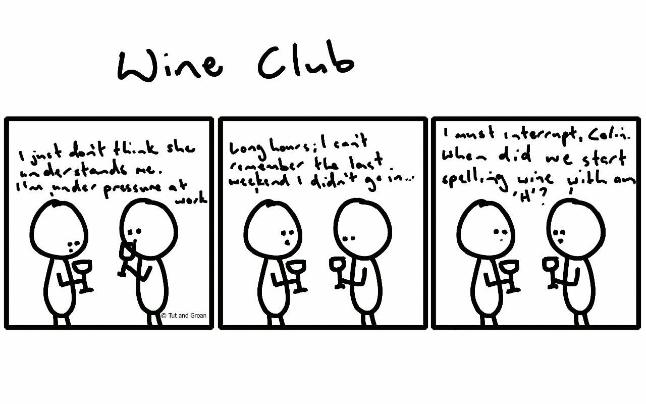 Tut and Groan Three Panels Wine Club cartoon