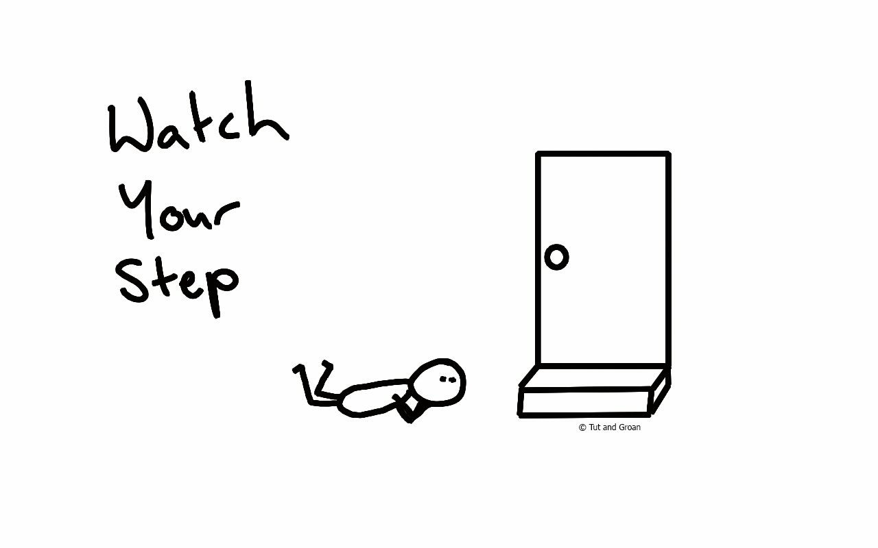 Tut and Groan Watch Your Step cartoon