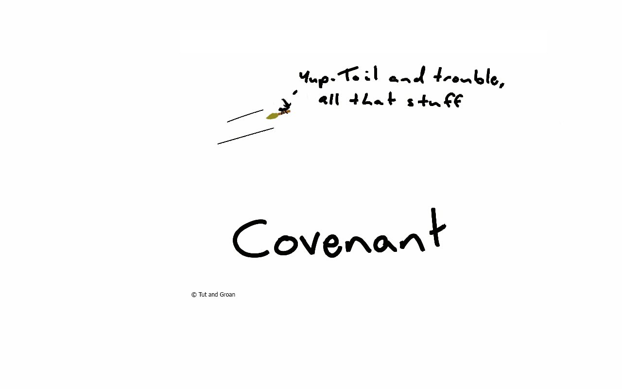 Tut and Groan Covenant cartoon