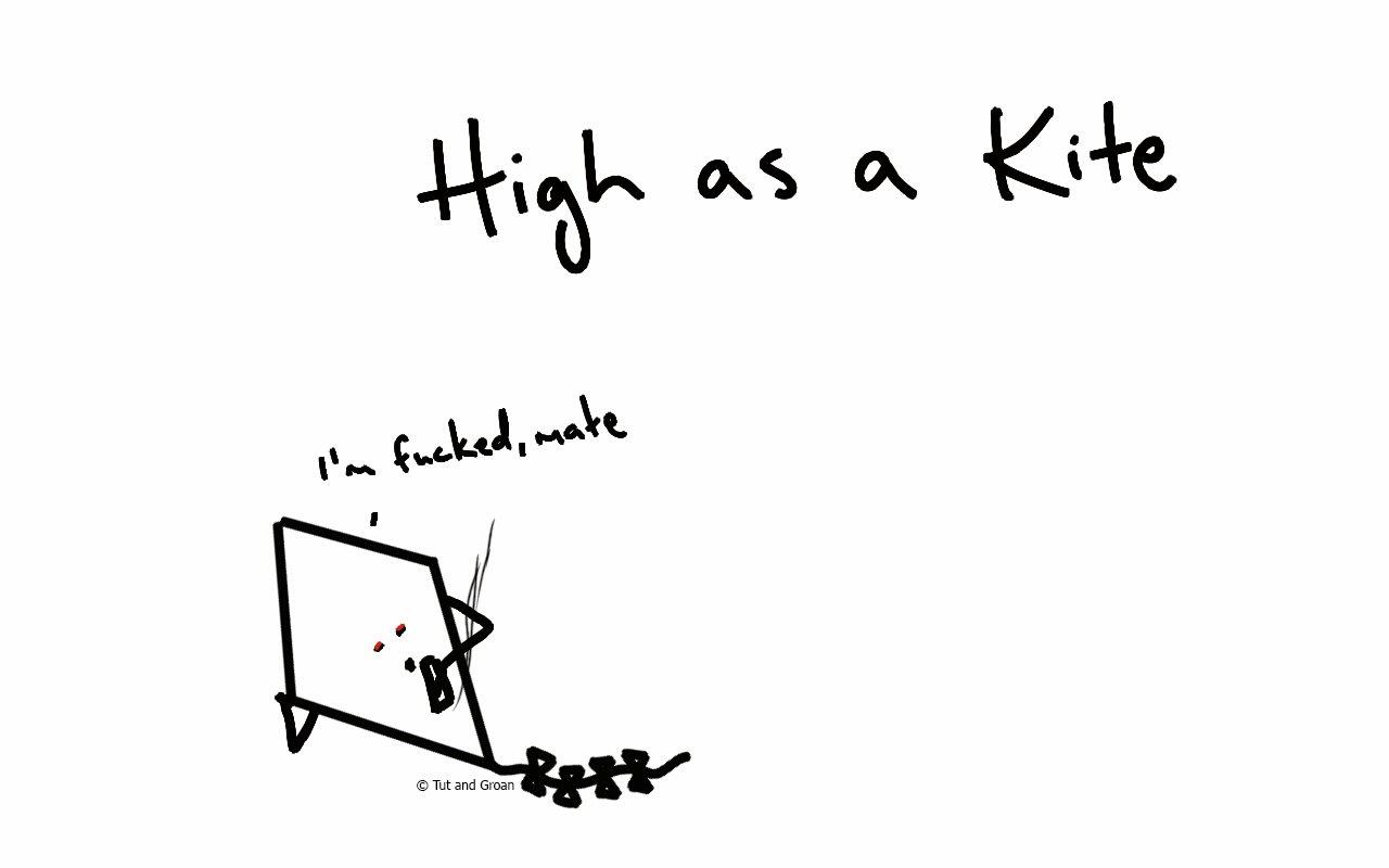 Tut and Groan High as a Kite cartoon