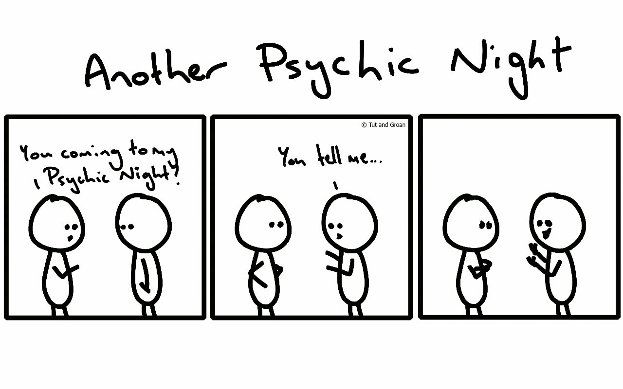 Tut and Groan Three Panels: Another Psychic Night cartoon