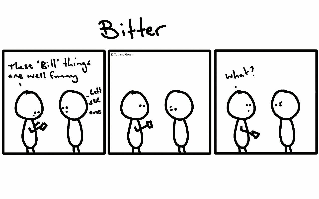 Tut and Groan Three Panels: Bitter cartoon