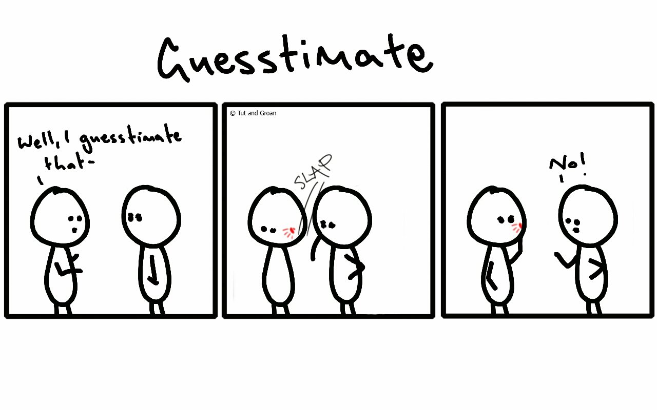 Tut and Groan Three Panels: Guesstimate cartoon