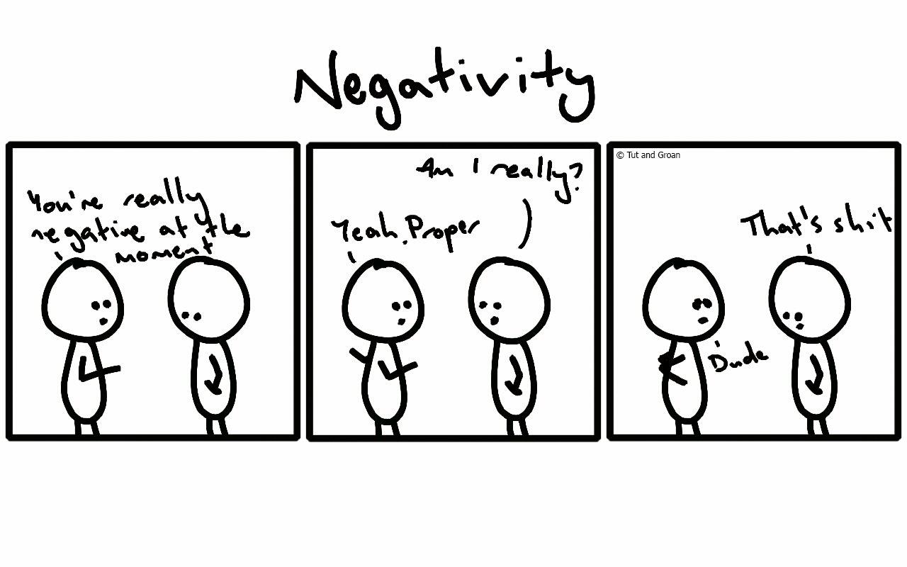 Tut and Groan Three Panels: Negativity cartoon
