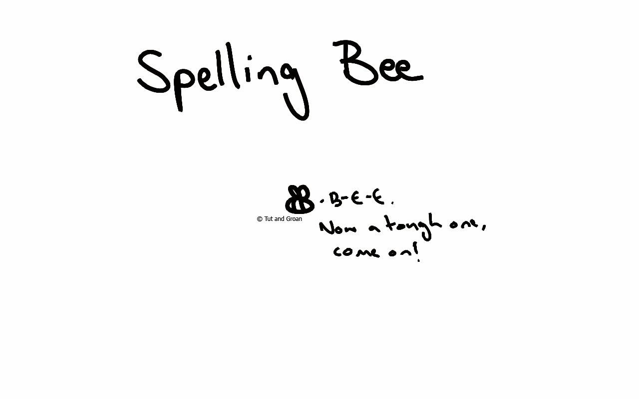 Tut and Groan Spelling Bee cartoon