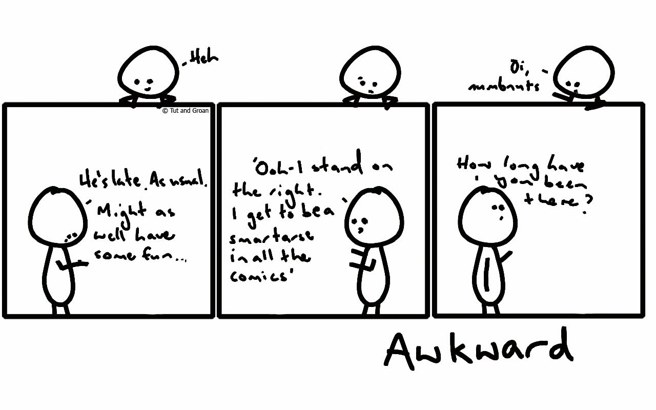 Tut and Groan Three Panels: Awkward cartoon