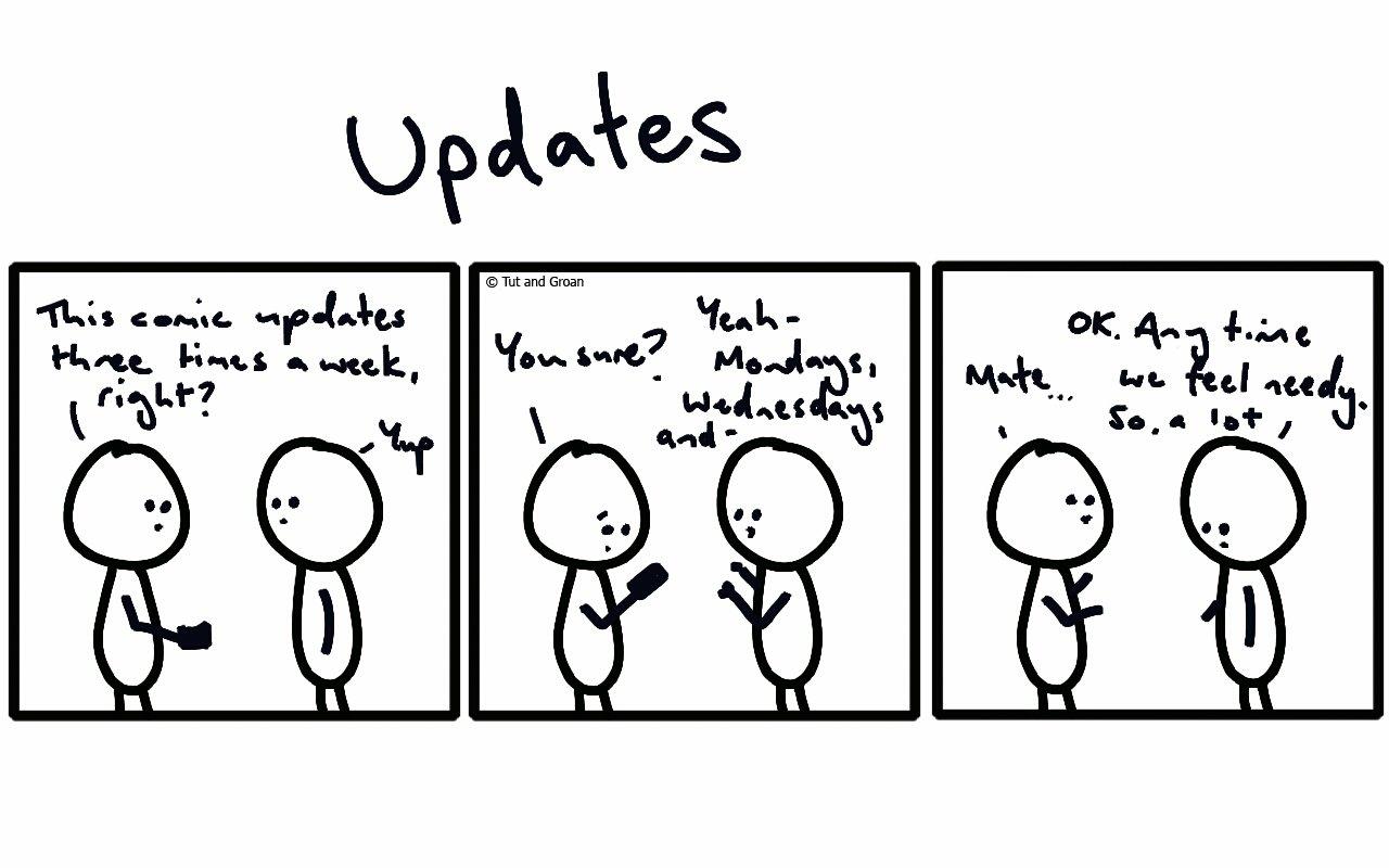 Tut and Groan Three Panels: Updates cartoon