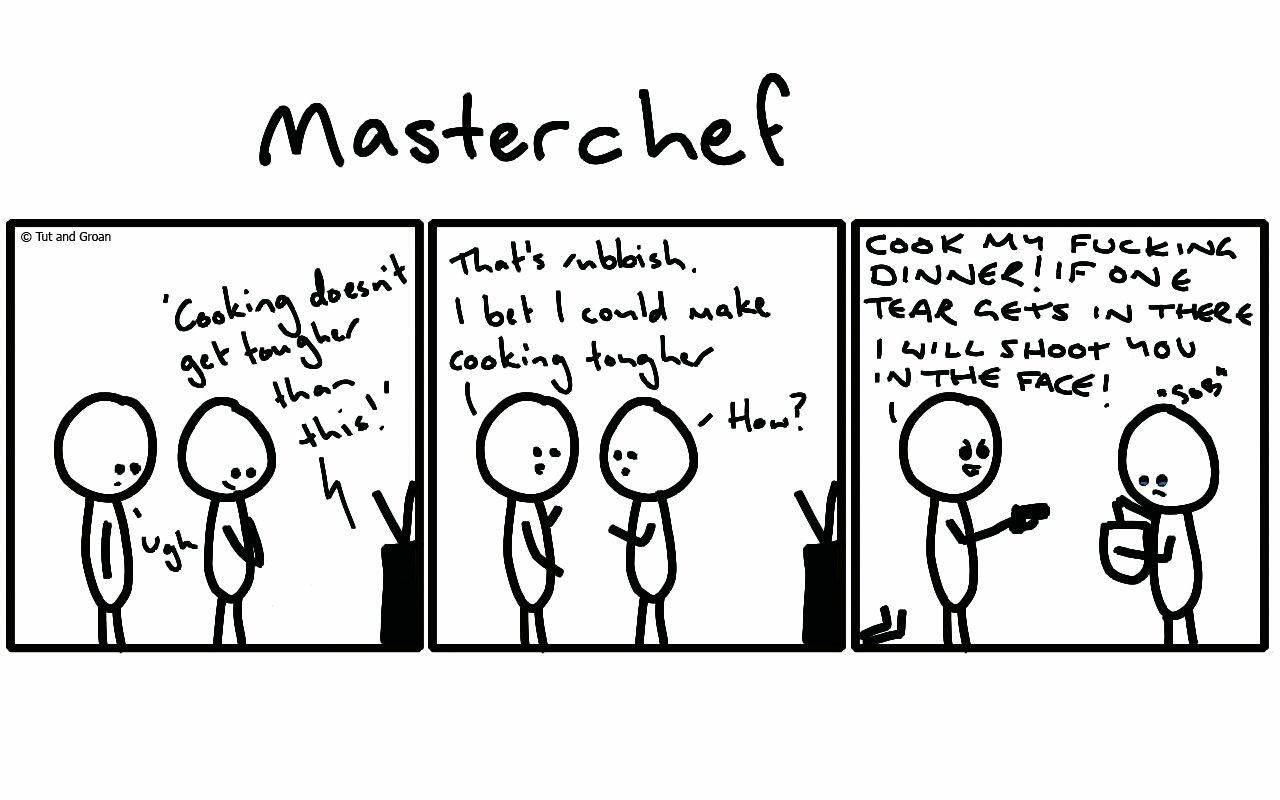 Tut and Groan Three Panels: Masterchef cartoon