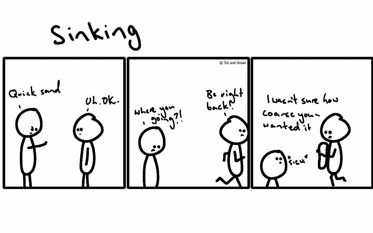 Tut and Groan Three Panels: Sinking cartoon