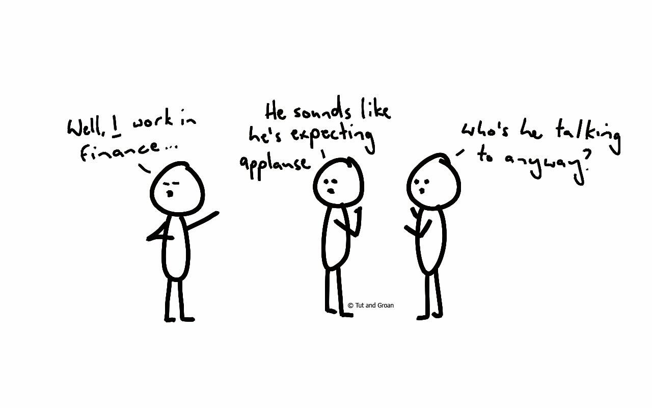 Tut and Groan Works in Finance cartoon