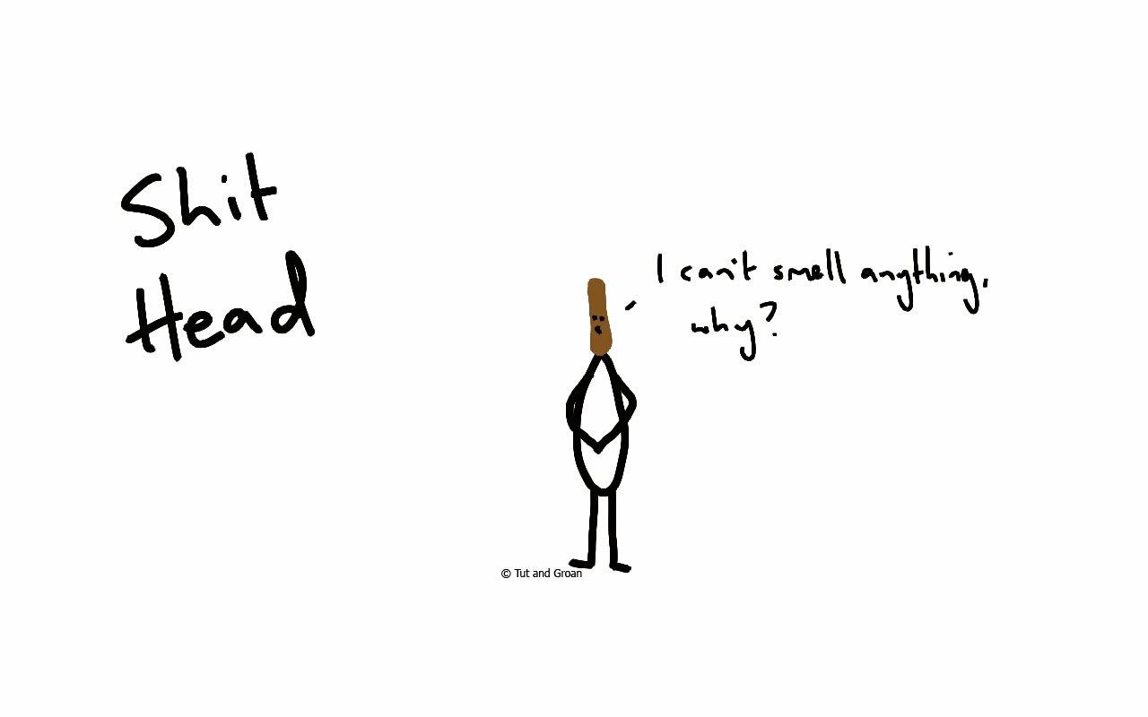 Tut and Groan Shithead cartoon