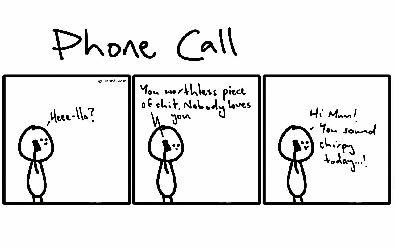 Tut and Groan Three Panels: Phone Call cartoon