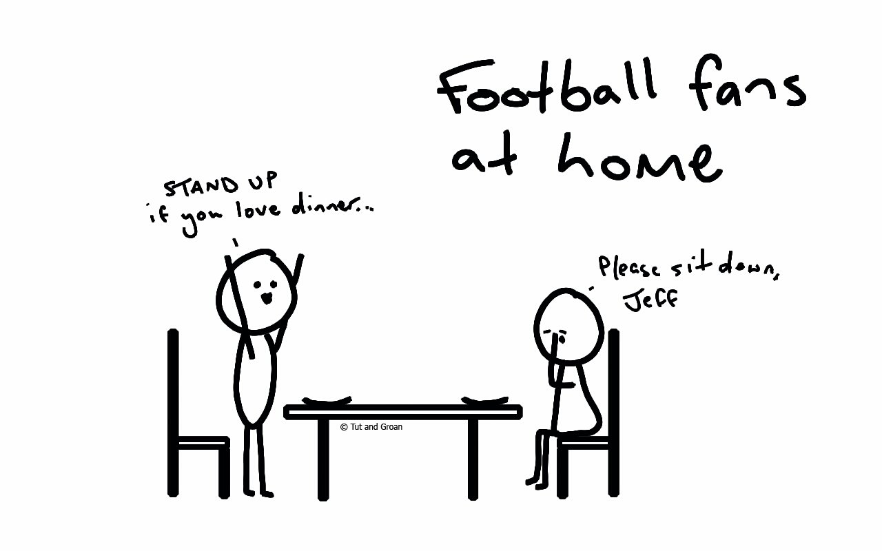 Tut and Groan Football Fans at Home cartoon