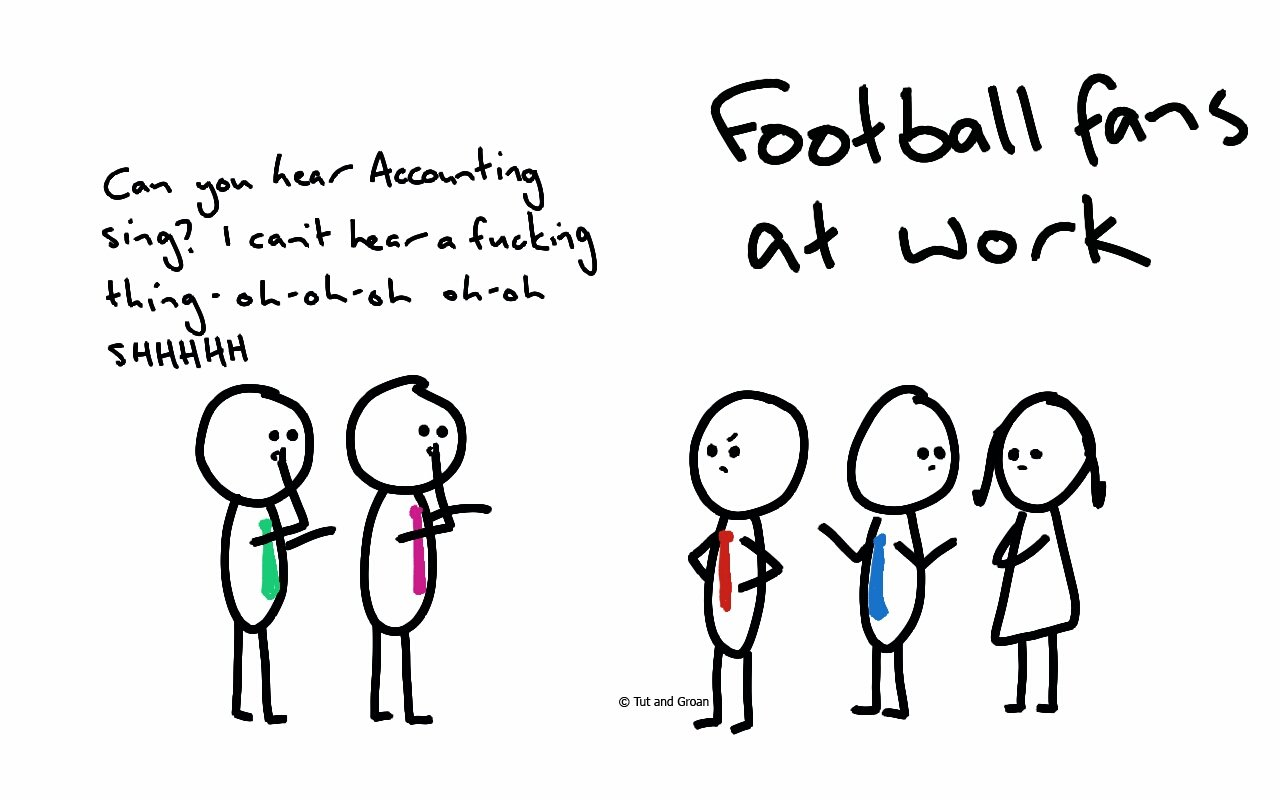 Tut and Groan Football Fans at Work cartoon