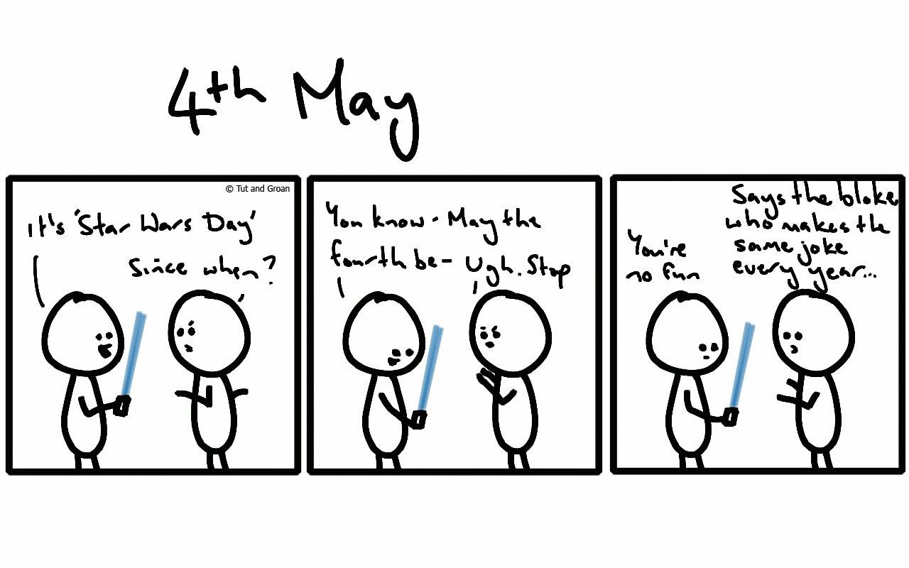 Tut and Groan Three Panels: 4th May cartoon