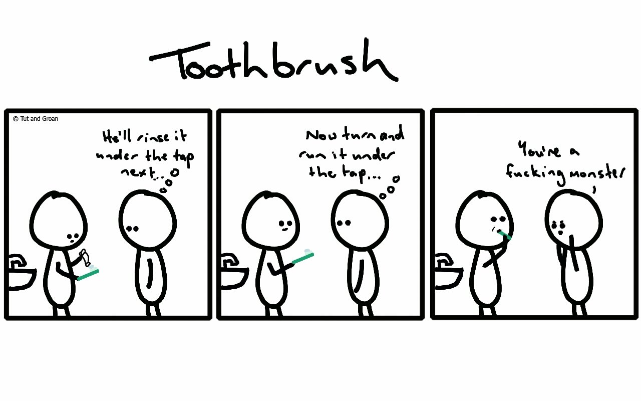 Tut and Groan Three Panels: Toothbrush cartoon