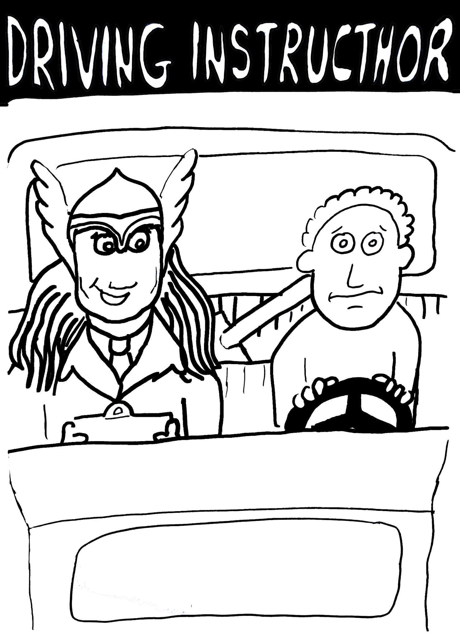 Tut and Groan Guest Toon: Driving InstrucThor by Mark Granger cartoon