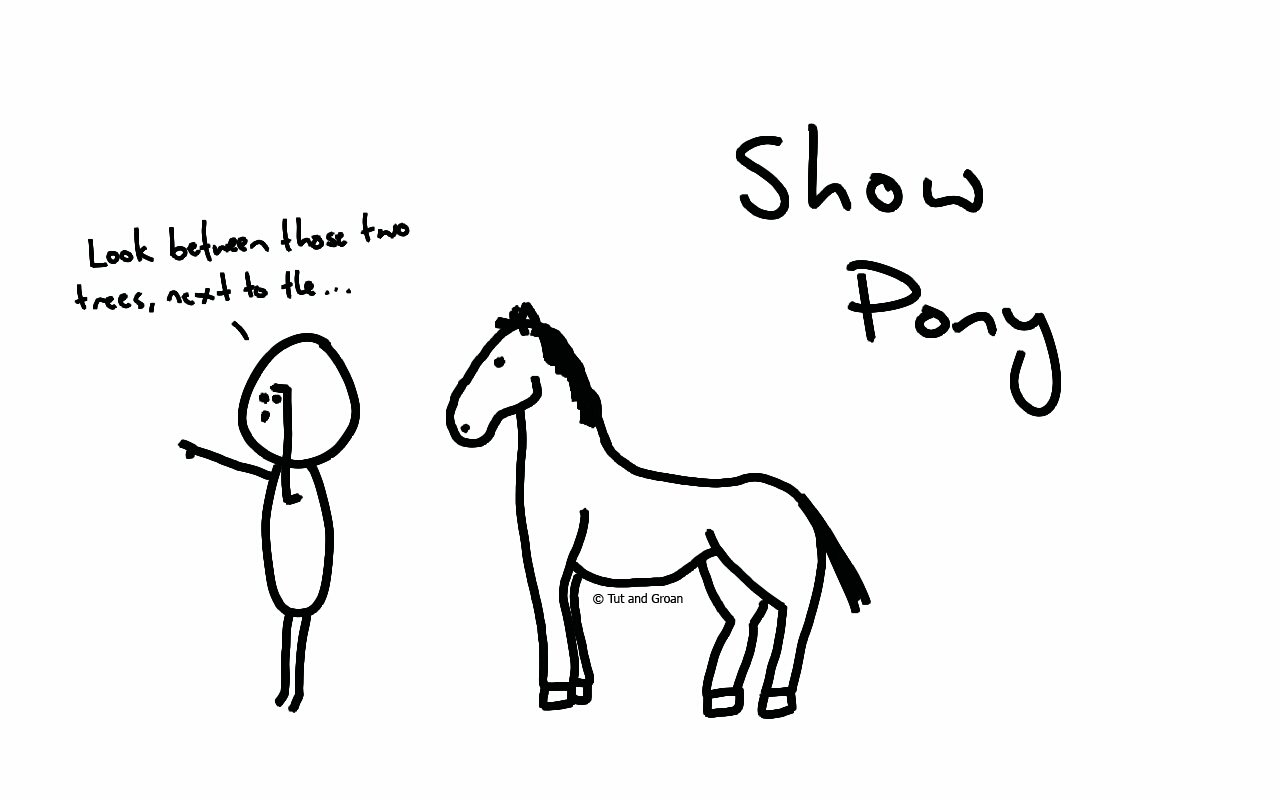 Tut and Groan Show Pony cartoon