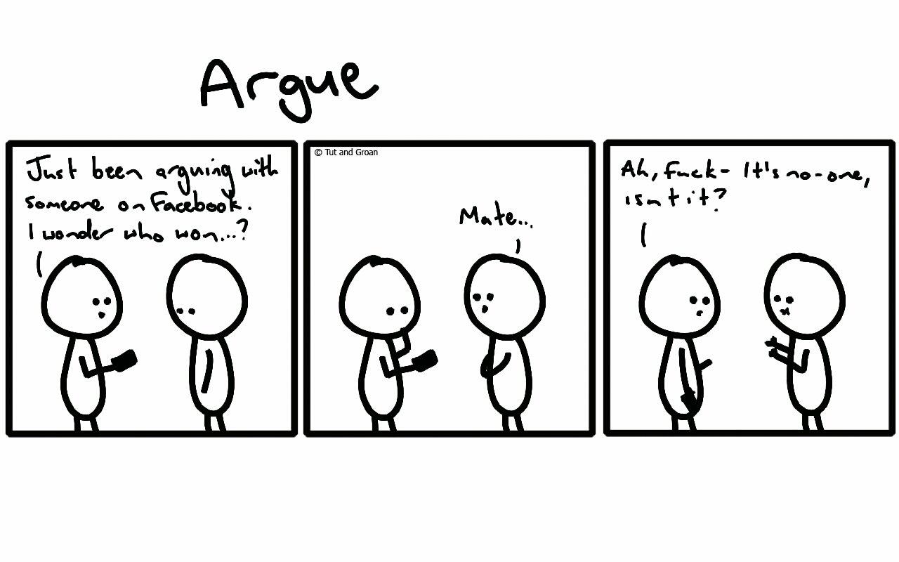 Tut and Groan Three Panels: Argue cartoon