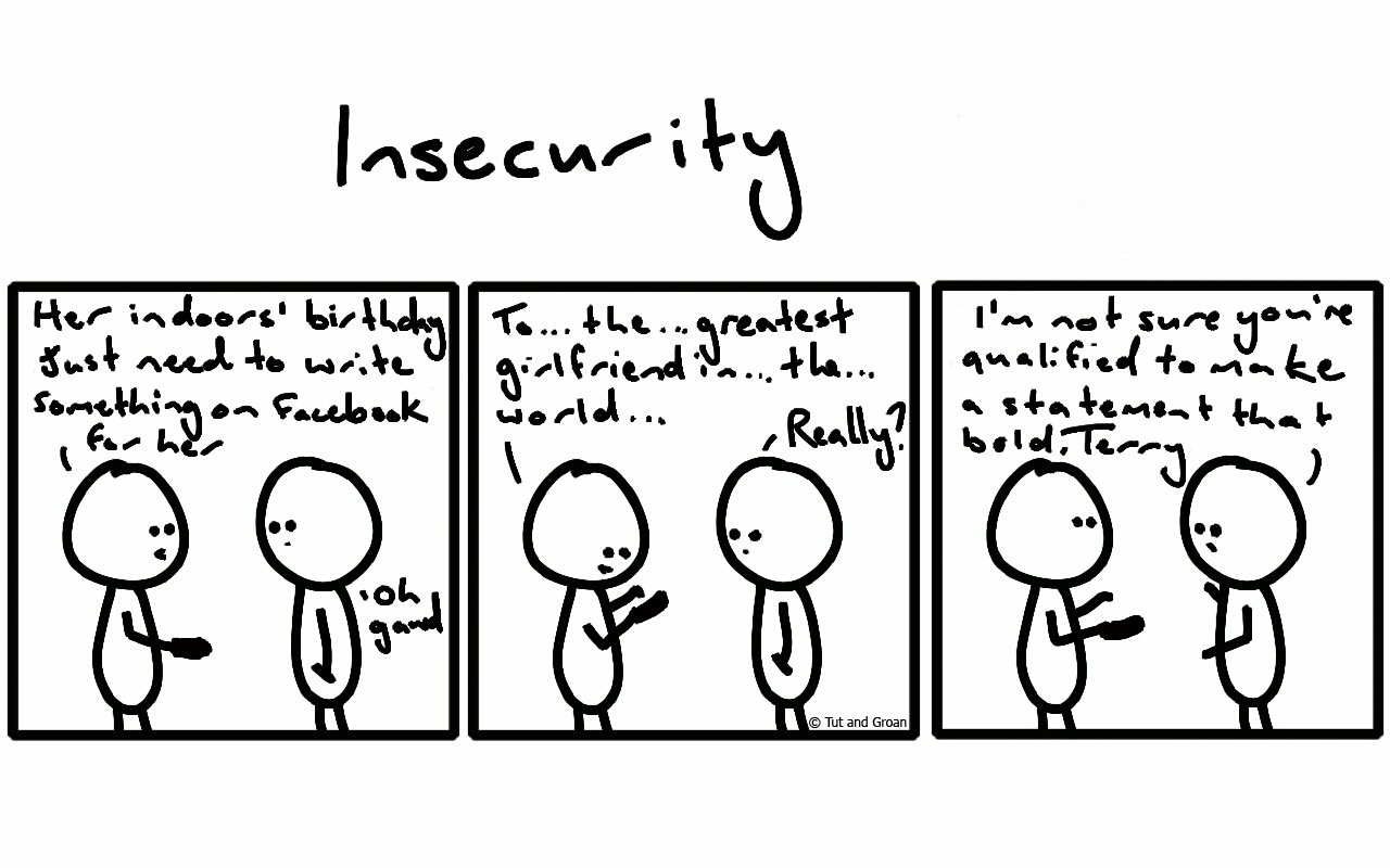Tut and Groan Three Panels: Insecurity cartoon
