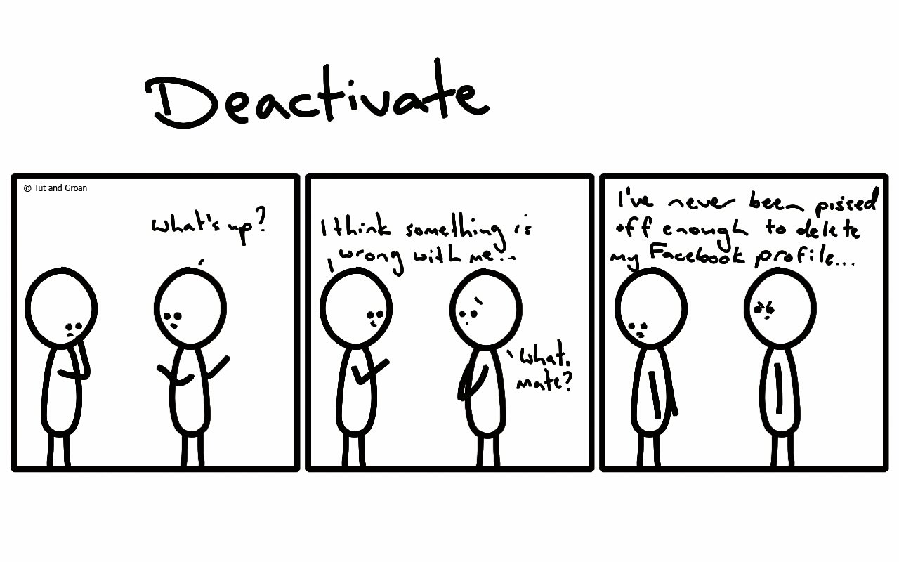 Tut and Groan Three Panels: Deactivate cartoon