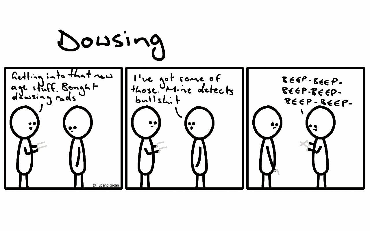 Tut and Groan Three Panels: Dowsing cartoon