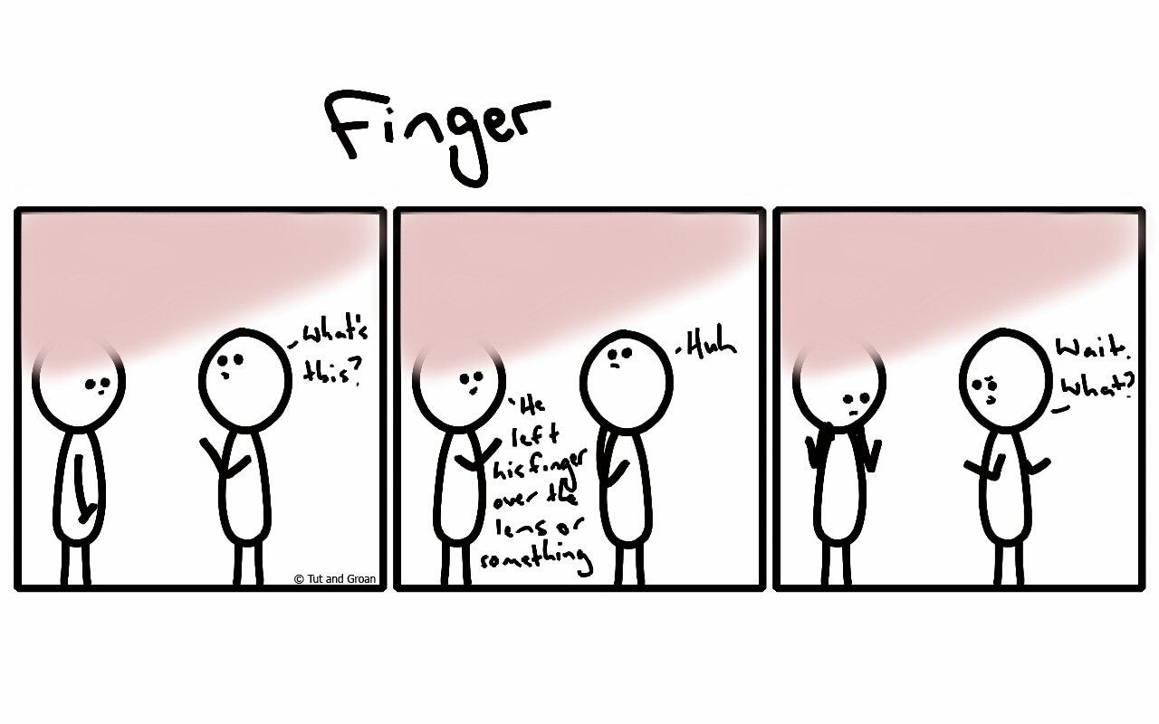 Tut and Groan Three Panels: Finger cartoon