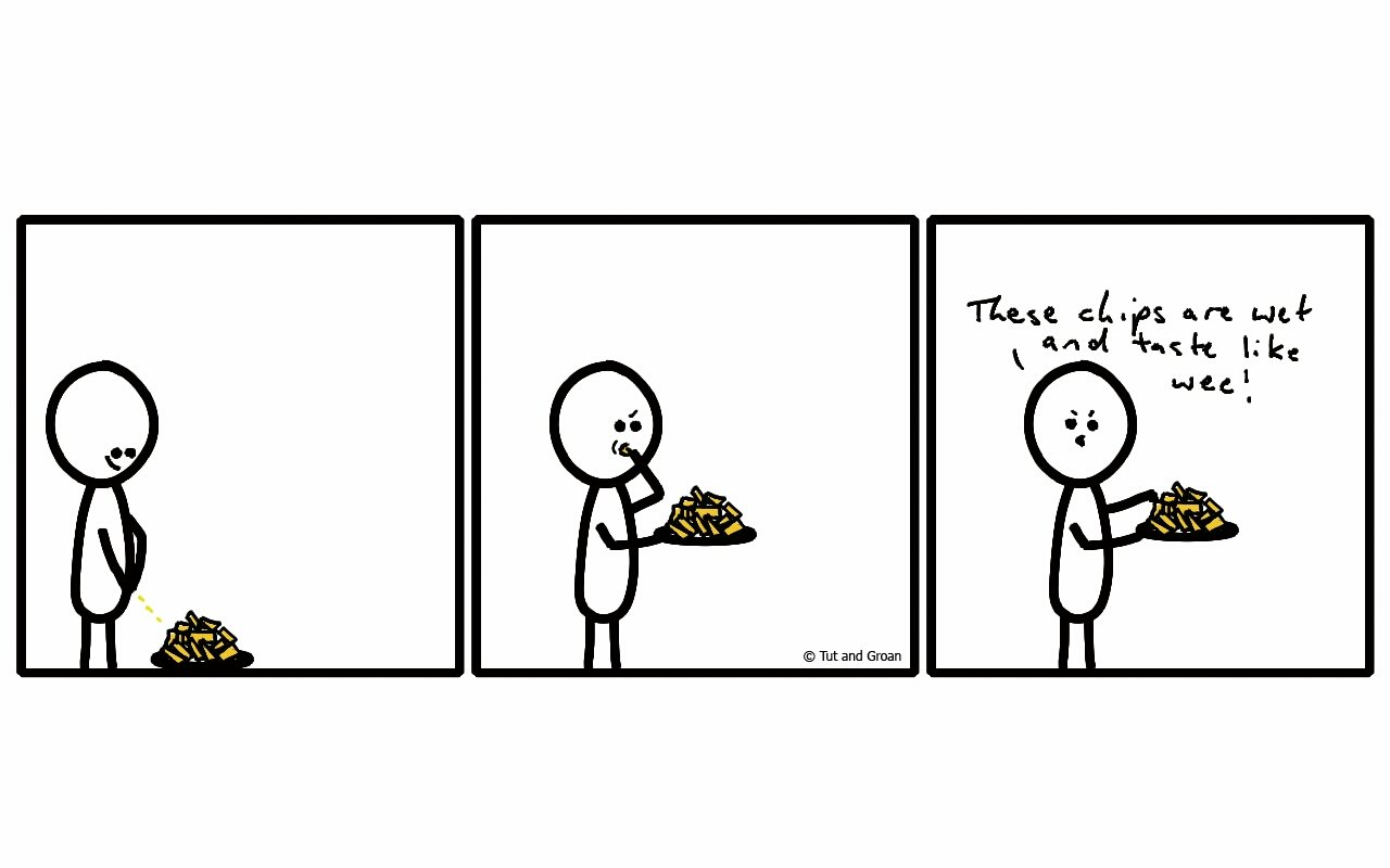 Tut and Groan Three Panels: Piss on your Chips cartoon