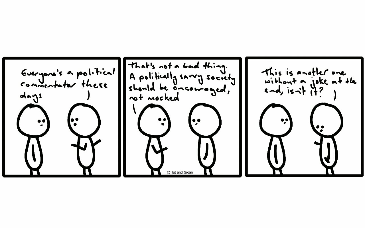 Tut and Groan Three Panels: Political Commentary cartoon