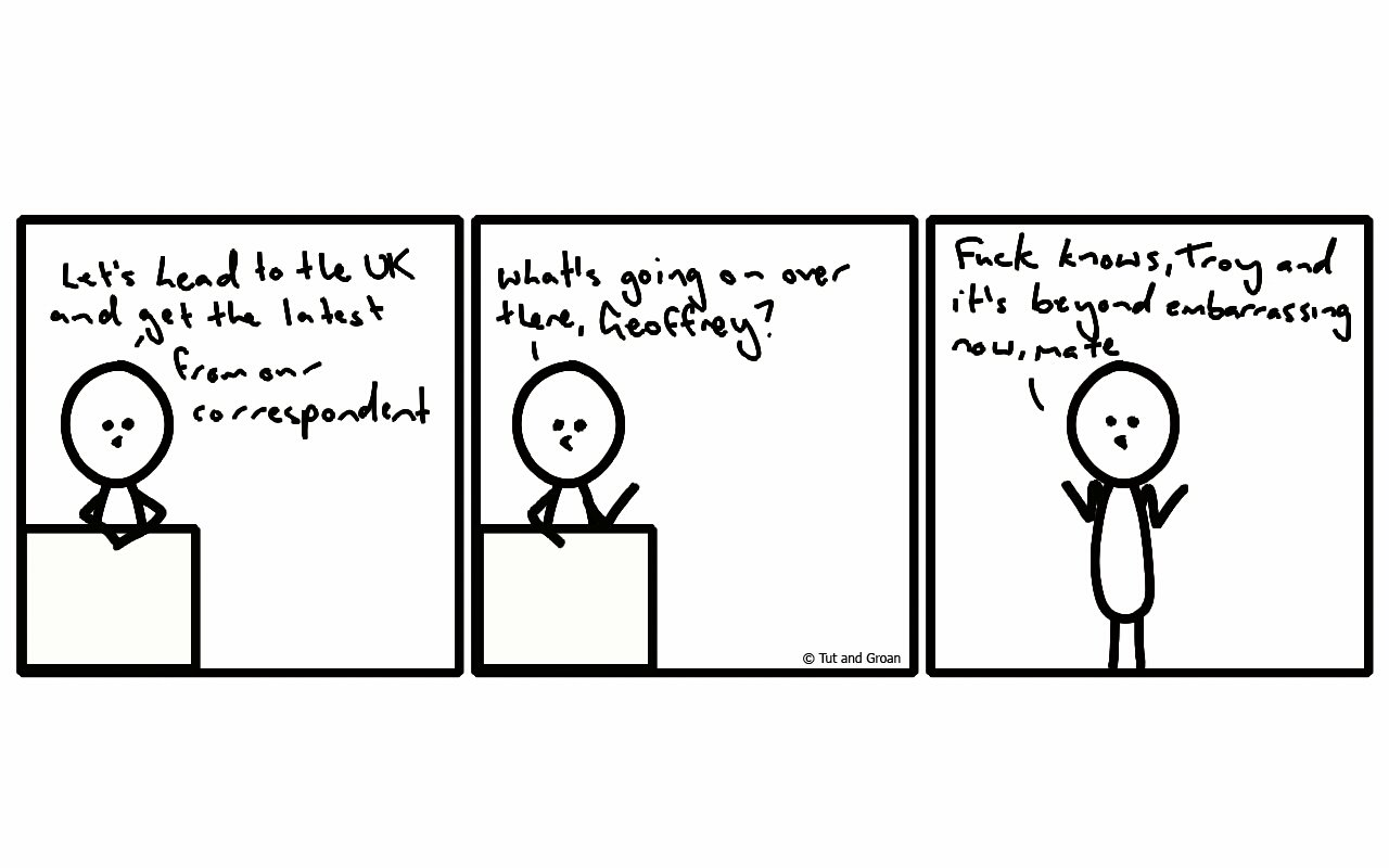 Tut and Groan Three Panels: Two Weeks Later cartoon
