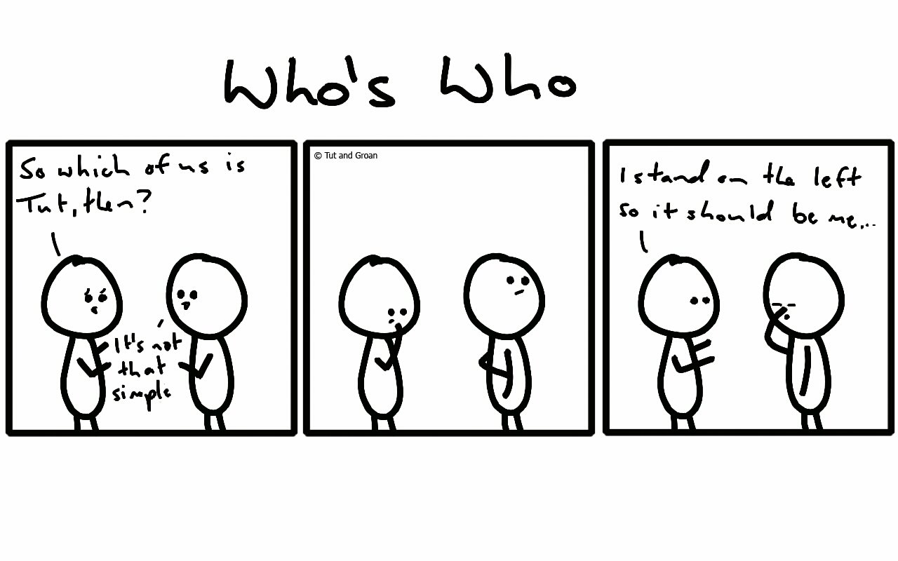 Tut and Groan Three Panels: Who's Who cartoon