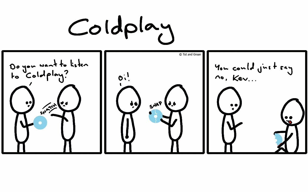 Tut and Groan Three Panels: Coldplay cartoon