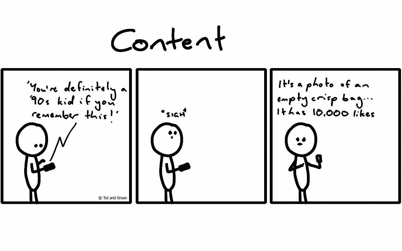 Tut and Groan Three Panels: Content cartoon