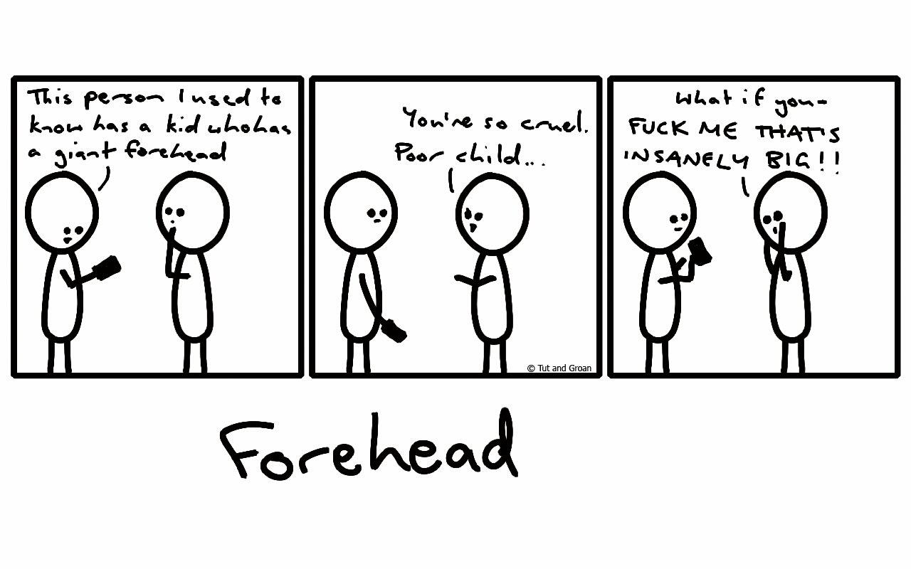 Tut and Groan Three Panels: Forehead cartoon
