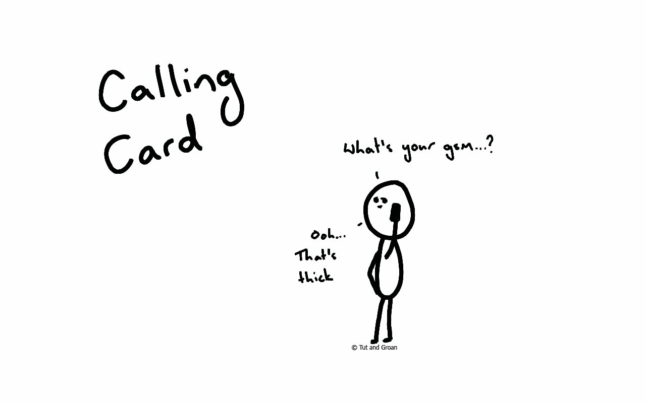 Tut and Groan Calling Card cartoon
