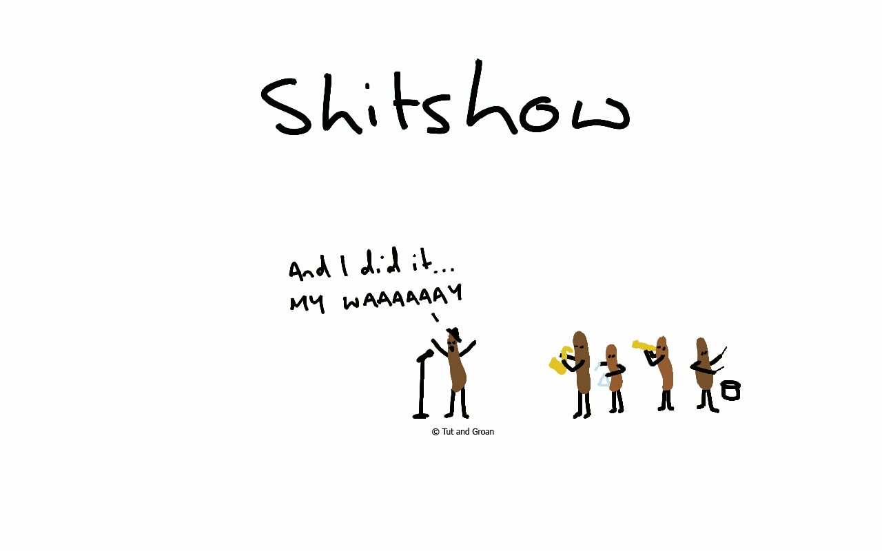 Tut and Groan Shitshow cartoon
