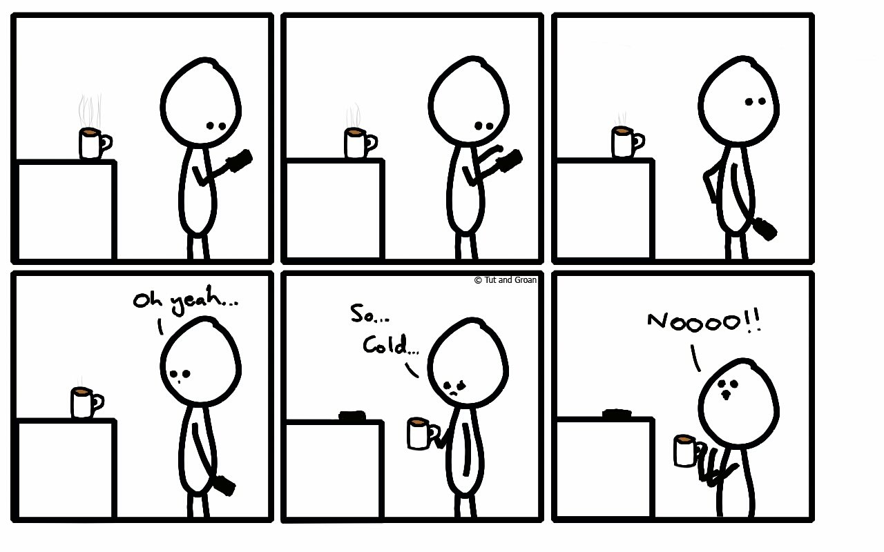 Tut and Groan Six Panels: Cold Tea cartoon