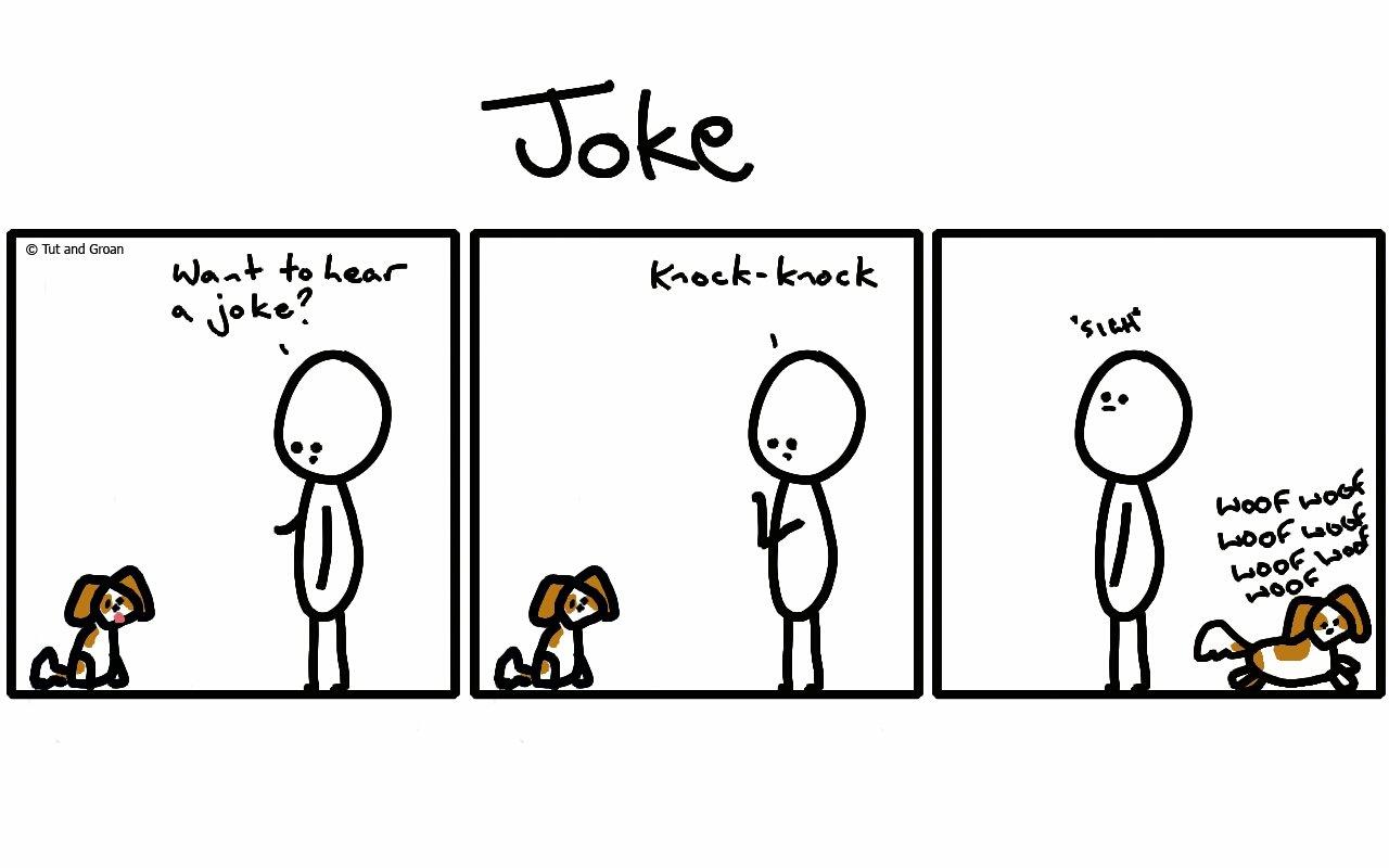 Tut and Groan Three Panels: Joke cartoon