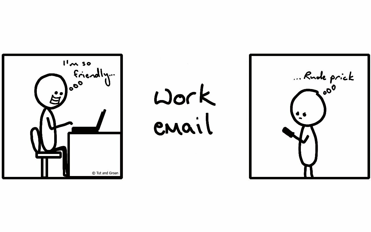 Tut and Groan Work Email cartoon