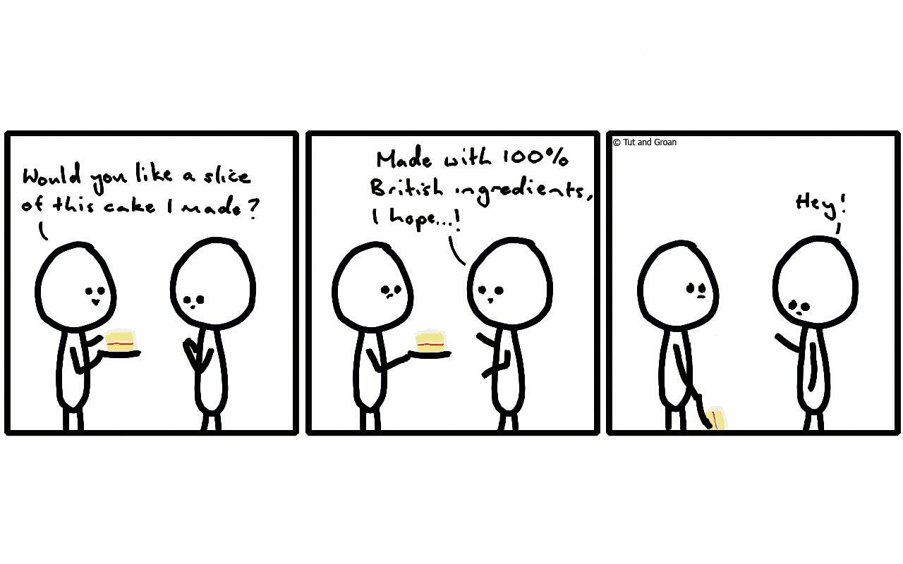 Tut and Groan British Cake cartoon
