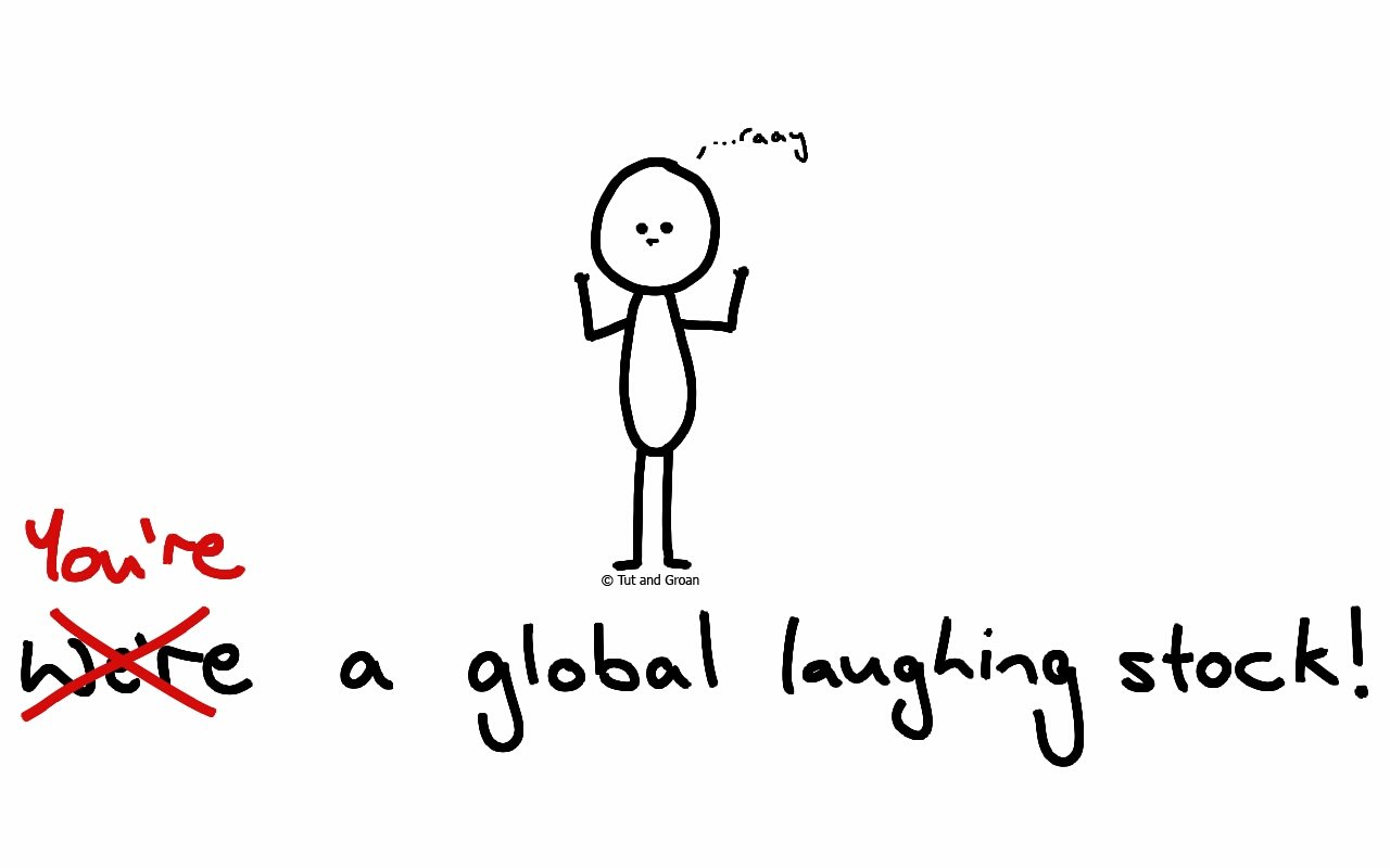 Tut and Groan Global Laughing Stock (US Edition) cartoon