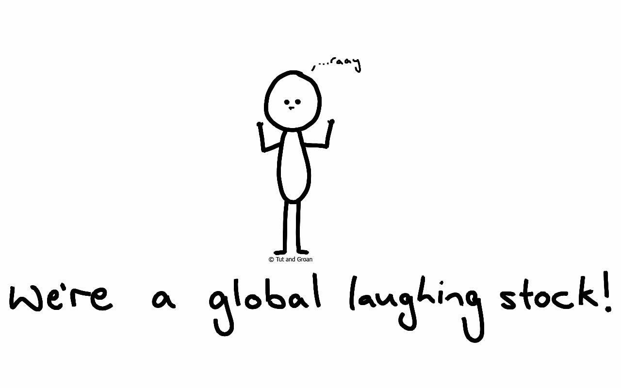 Tut and Groan Global LAughing Stock cartoon