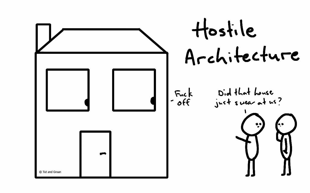 Tut and Groan Hostile Architecture cartoon