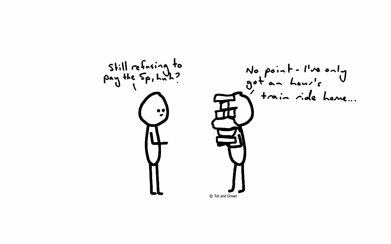 Tut and Groan Plastic Bag Tax cartoon